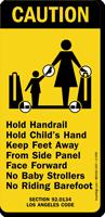 Hold Child's Hand Keep Feet Away Sign