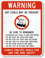 Warning: Hot Coals May Be Present Sign