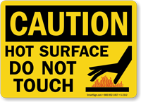 Hot Surface Do Not Touch Sign With Hand Burn Graphic Sku