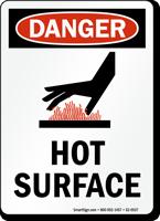 Hot Surface OSHA Danger Vertical Sign