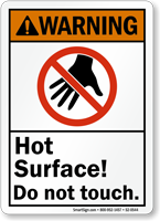 Hot Surface Do Not Touch Warning Sign