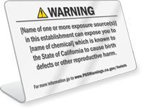 Hotel Exposure Prop 65 Sign