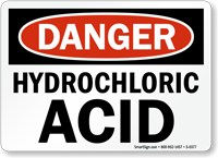 Danger Hydrochloric Acid Sign