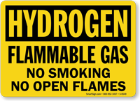 Hydrogen Flammable Gas Smoking Flames Sign