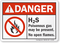 H2S Poisonous Gas May Be Present ANSI Danger Sign