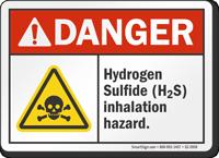 Hydrogen Sulfide Inhalation Hazard ANSI Danger Sign