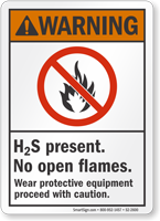 H2S Present No Open Flames ANSI Warning Sign