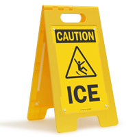 Ice Free-Standing Caution Floor Sign