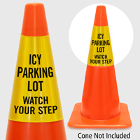 Icy Parking Lot Watch Your Step Cone Collar