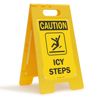 Icy Steps Caution Standing Floor Sign