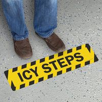 Icy Steps Slip-Resistant Floor Sign