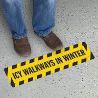 Icy Walkways In Winter Floor Sign