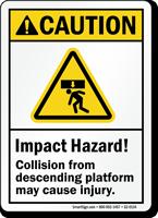 Impact Hazard May Cause Serious Injury ANSI Caution Sign