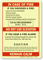 In Case Of Fire, No Elevator Sign