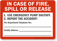 In Case Of Fire Use Emergency Pump Shutoff Sign