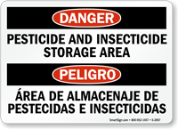 Bilingual Danger Pesticide Insecticide Storage Area Sign