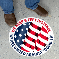 We Keep 6 Feet Distance SlipSafe Floor Sign