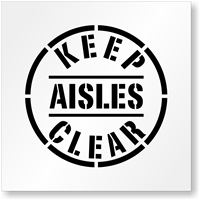 Keep Aisles Clear Floor Stencil