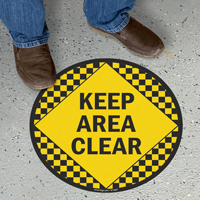 Keep Area Clear Floor Sign