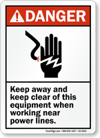 Keep Away Keep Clear Equipment ANSI Danger Sign