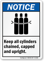 Keep Cylinders Chained Capped Upright Sign