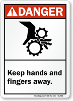 Danger: Keep Hands and Fingers Away Sign