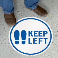 Keep Left With Footprints Symbol SlipSafe Floor Sign