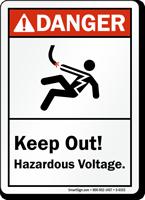 Keep Out Hazardous Voltage ANSI Danger Sign
