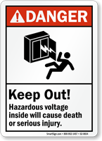 Keep Out Hazardous Voltage Inside ANSI Danger Sign