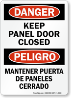 Bilingual Keep Panel Door Closed Danger Sign