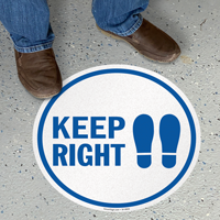 Keep Right With Footprints Symbol SlipSafe Floor Sign