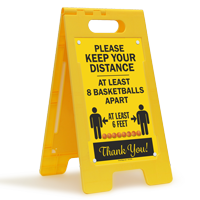 Keep Your Distance At Least 8 Basketballs Apart FloorBoss Sign