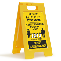 Keep Your Distance At Least 4 Dancing Penguins Apart FloorBoss Sign