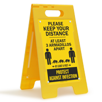 Keep Your Distance At Least 3 Armadillos Apart FloorBoss Sign