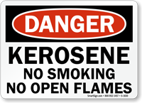 Kerosene No Smoking No Open Flames Sign