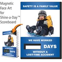 Safety Is Family Value Scoreboards Face, Kid Sledding
