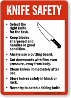 Knife safety guidelines sign food and kitchen safety for 5 kitchen safety hazards