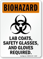 Lab Coats, Safety Glasses And Gloves Required Sign