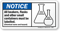 All Beakers Flasks Containers Must Labeled Sign