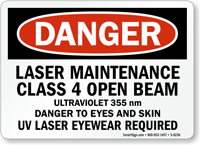 Laser Maintenance Class 4 Sign