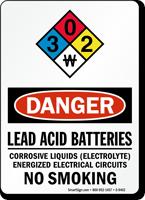 Lead Acid Batteries Corrosive Liquids OSHA Danger Sign