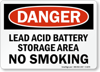 Lead Acid Battery Storage Area Danger Sign