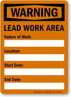 Lead Work Area OSHA Warning Sign