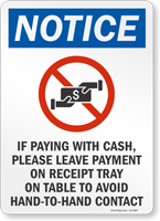 Leave Payment To Avoid Hand-To-Hand Contact Sign