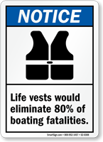Life Vests Eliminate 80% Of Boating Fatalities Sign