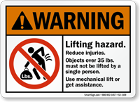 Lifting Hazard Use Mechanical Lift Sign