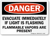 Evacuate Immediately If Light Flashing Sign