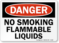 OSHA Danger, No Smoking Flammable Liquids Sign