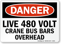 Live 480 Volt Danger Sign
