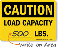 Caution Max Load Capacity Sign